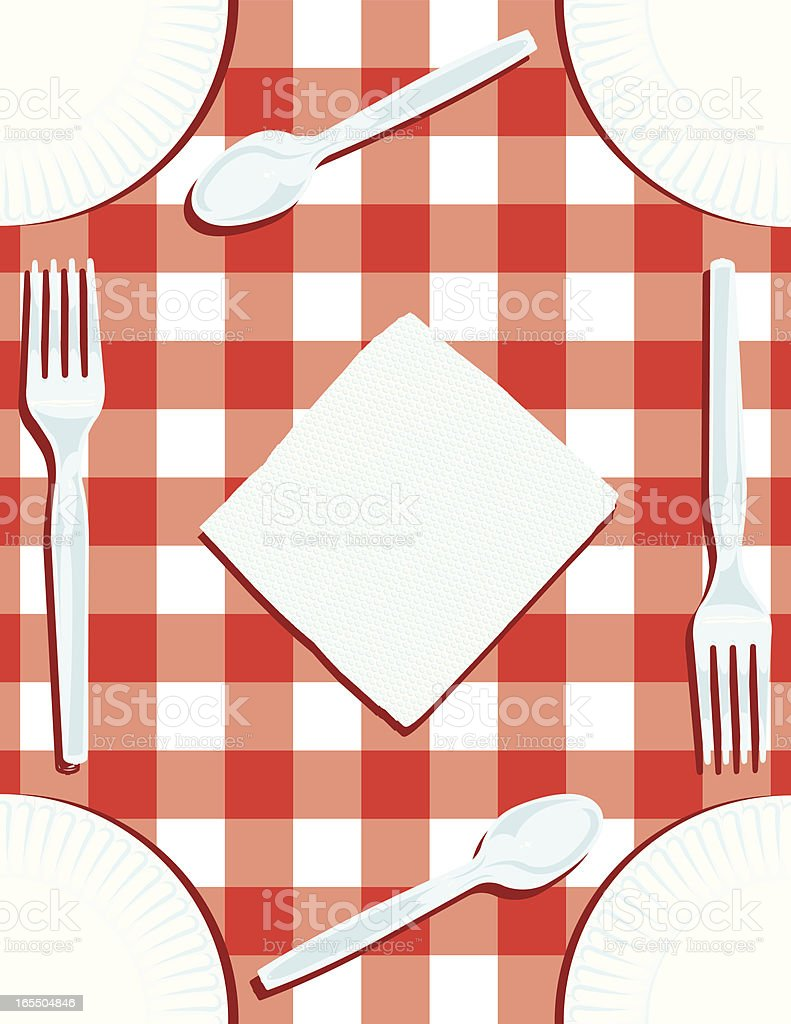 Picnic Table Border with Plates, Napkin, Forks and Spoons royalty-free stock vector art
