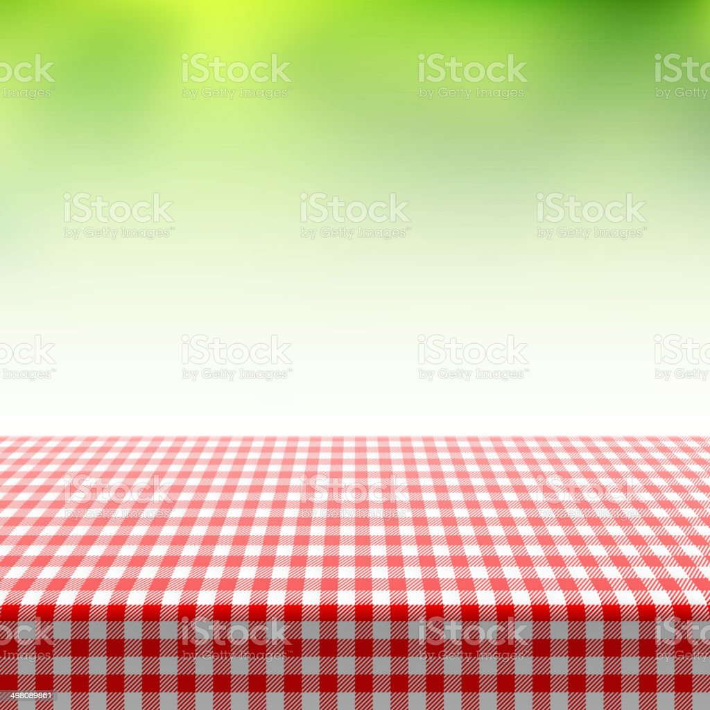 Picnic table covered with checkered tablecloth vector art illustration