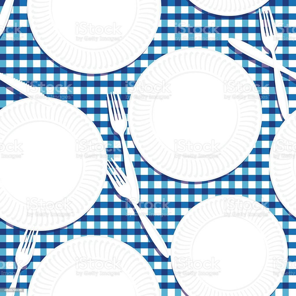 Picnic Table, Plates And Utensils Seamless Pattern vector art illustration