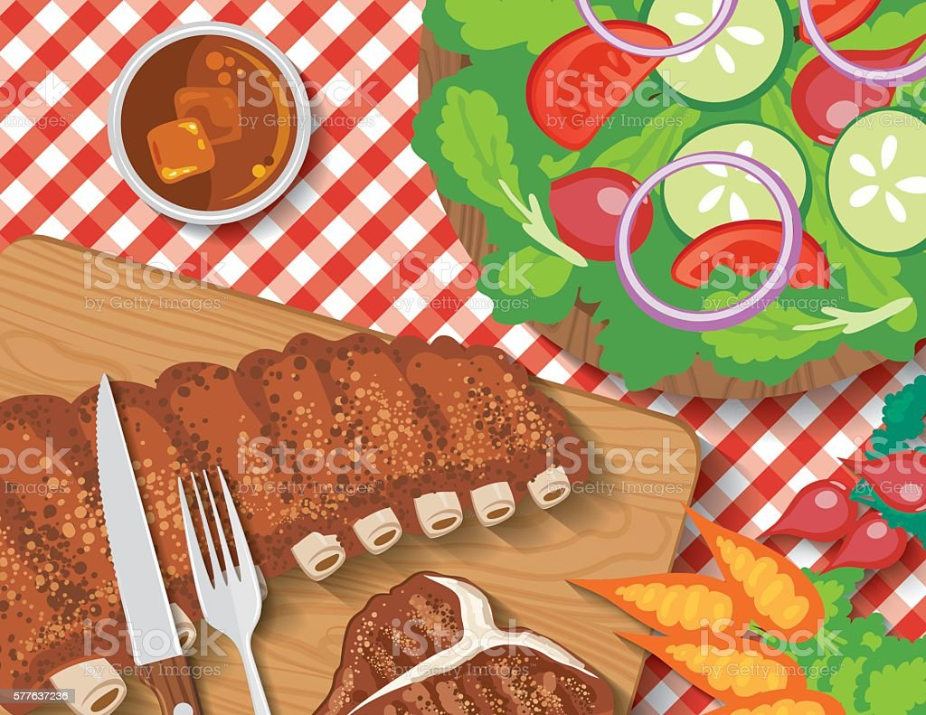 Picnic Table With BBQ foods and Red Plaid Tablecloth vector art illustration