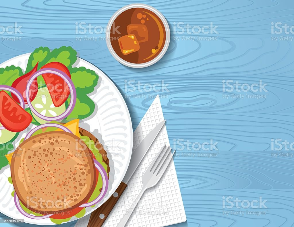 Picnic Table With BBQ foods On A Picnic Table vector art illustration