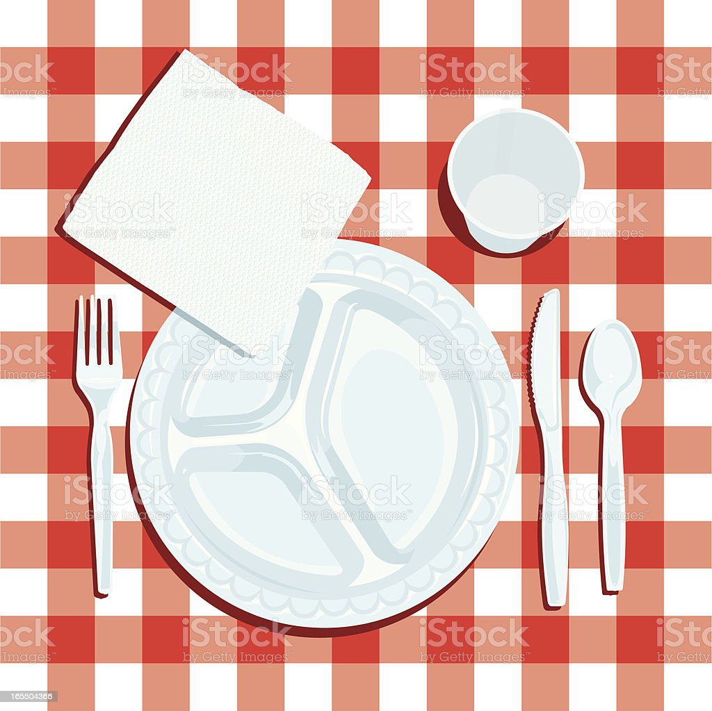 Picnic Table with Napkin, Plate and Silverware royalty-free stock vector art
