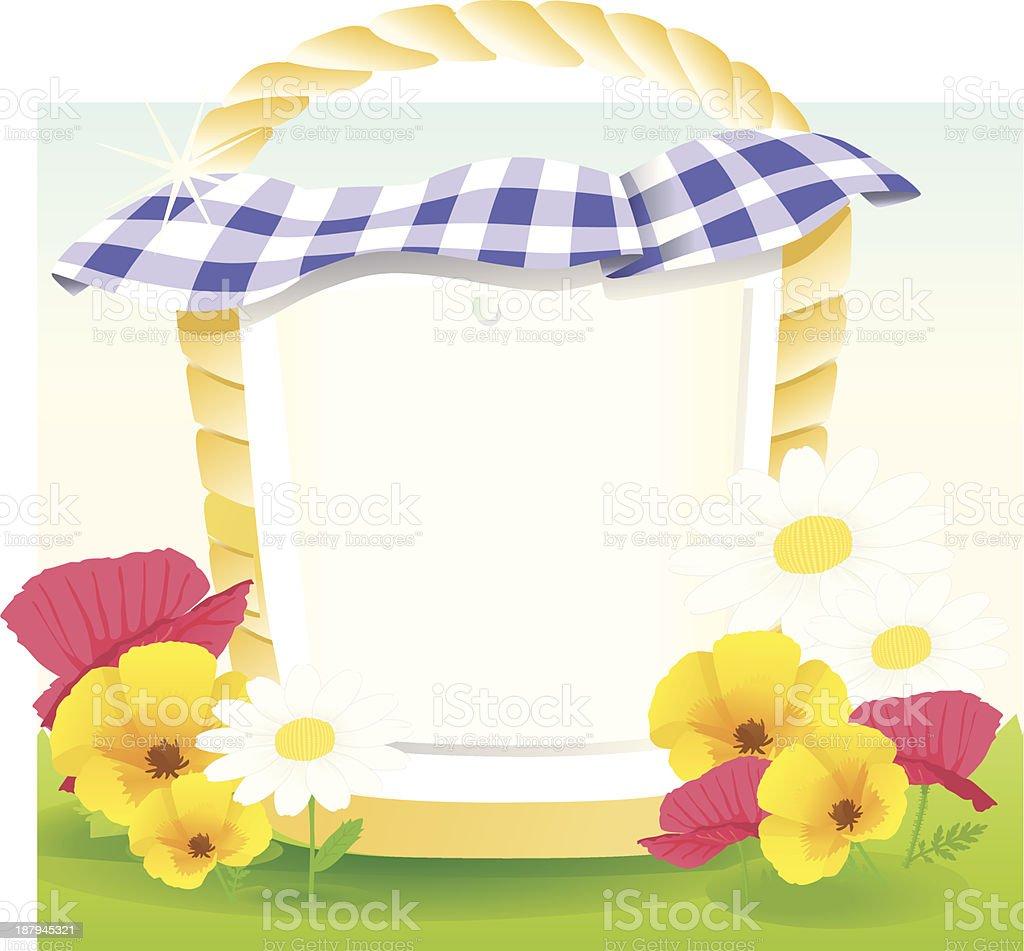picnicbasket bluewhite caro. royalty-free stock vector art