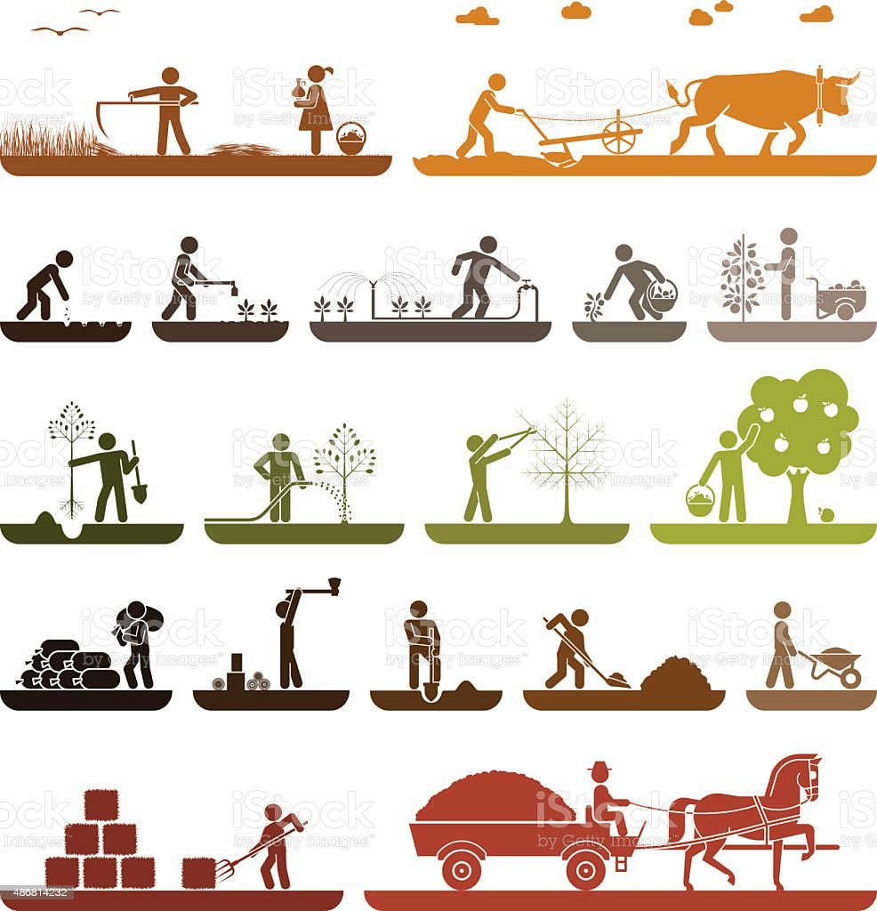 Pictogram icons presenting agricultural work and life on the farm. vector art illustration