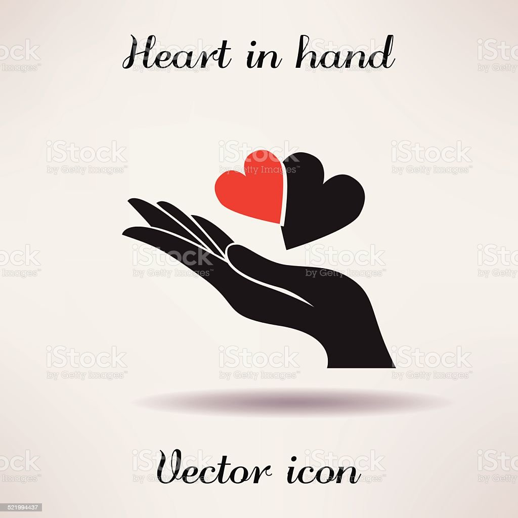 Pictograph of heart in hand Vector icon Template for design. vector art illustration