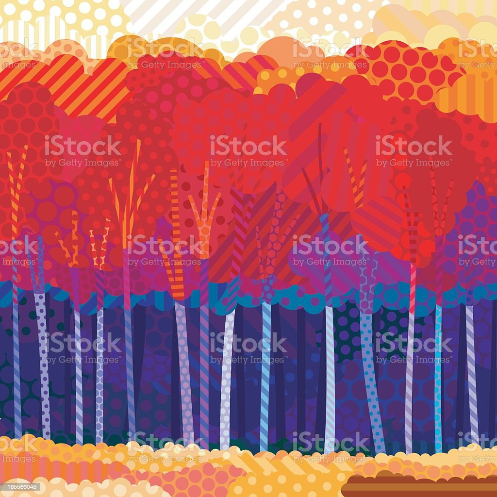 Picture created from dots depicting an autumn forest royalty-free stock vector art