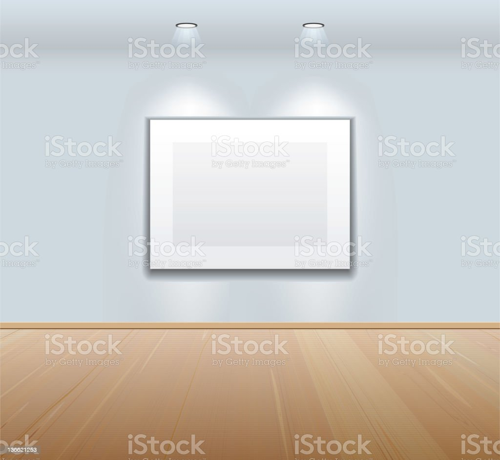 Picture frame on the wall at art gallery royalty-free stock vector art
