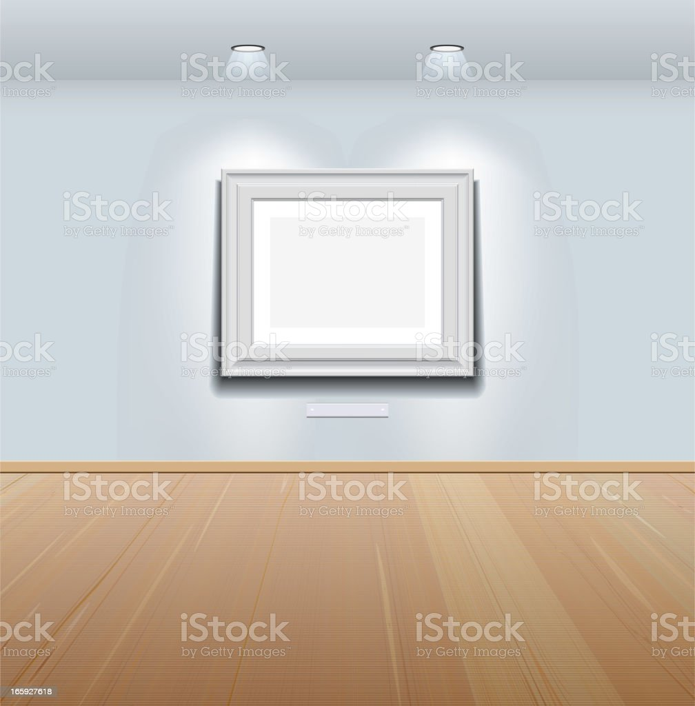 Picture frame on the wall at art gallery vector art illustration