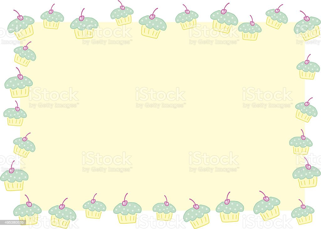 Picture frame with sweet cupkakes vector art illustration
