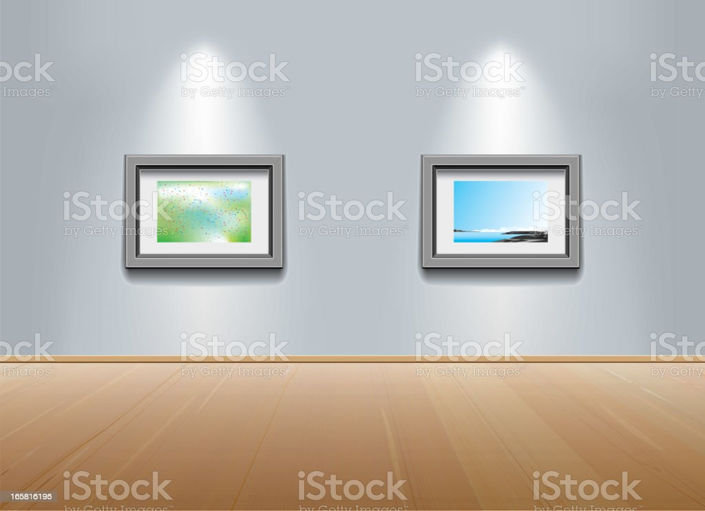 Picture frames on the wall at art gallery vector art illustration