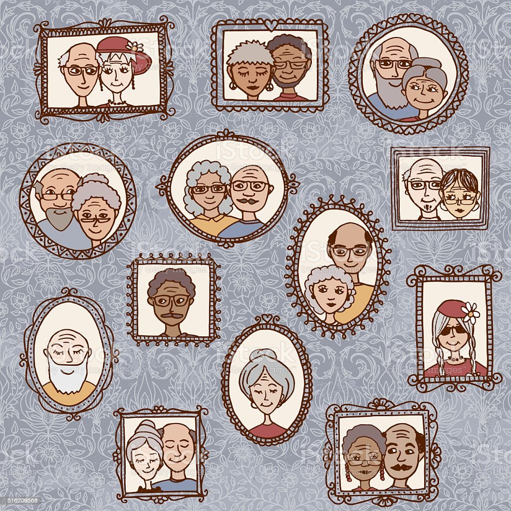 Picture frames with portraits of elderly people vector art illustration