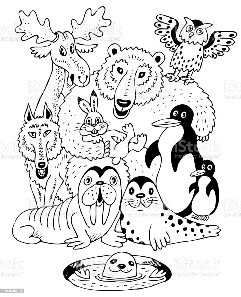 Picture from child's coloring book of arctic animals royalty-free stock vector art