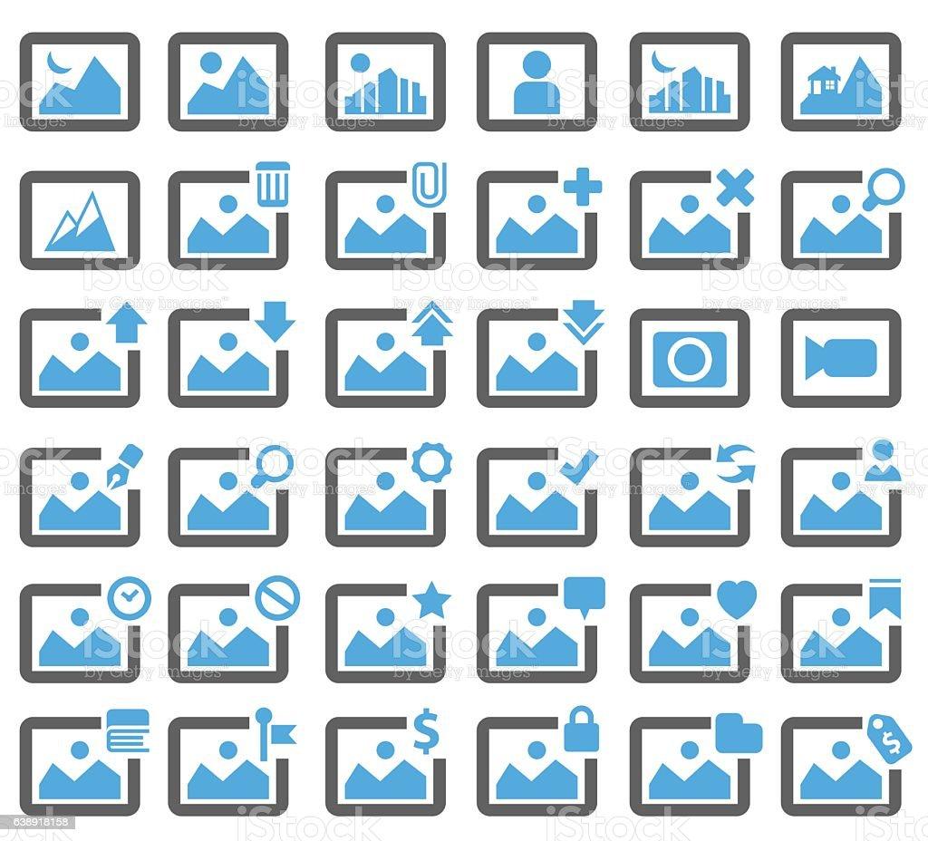 Picture icon set vector art illustration