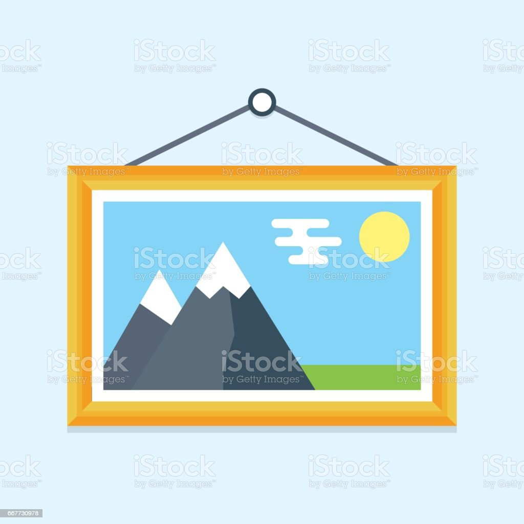 Picture in a wooden frame hanging on the wall vector art illustration