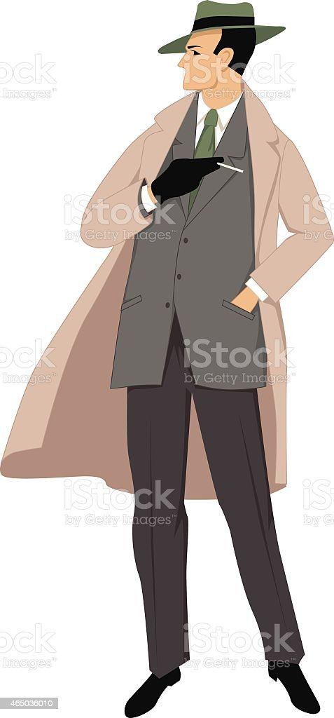 Picture of a 1950s gentleman all dressed up with a cigarette vector art illustration