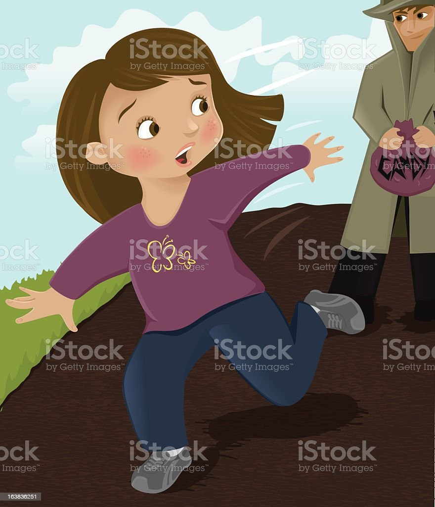 Picture of a girl running away from a man with candy vector art illustration