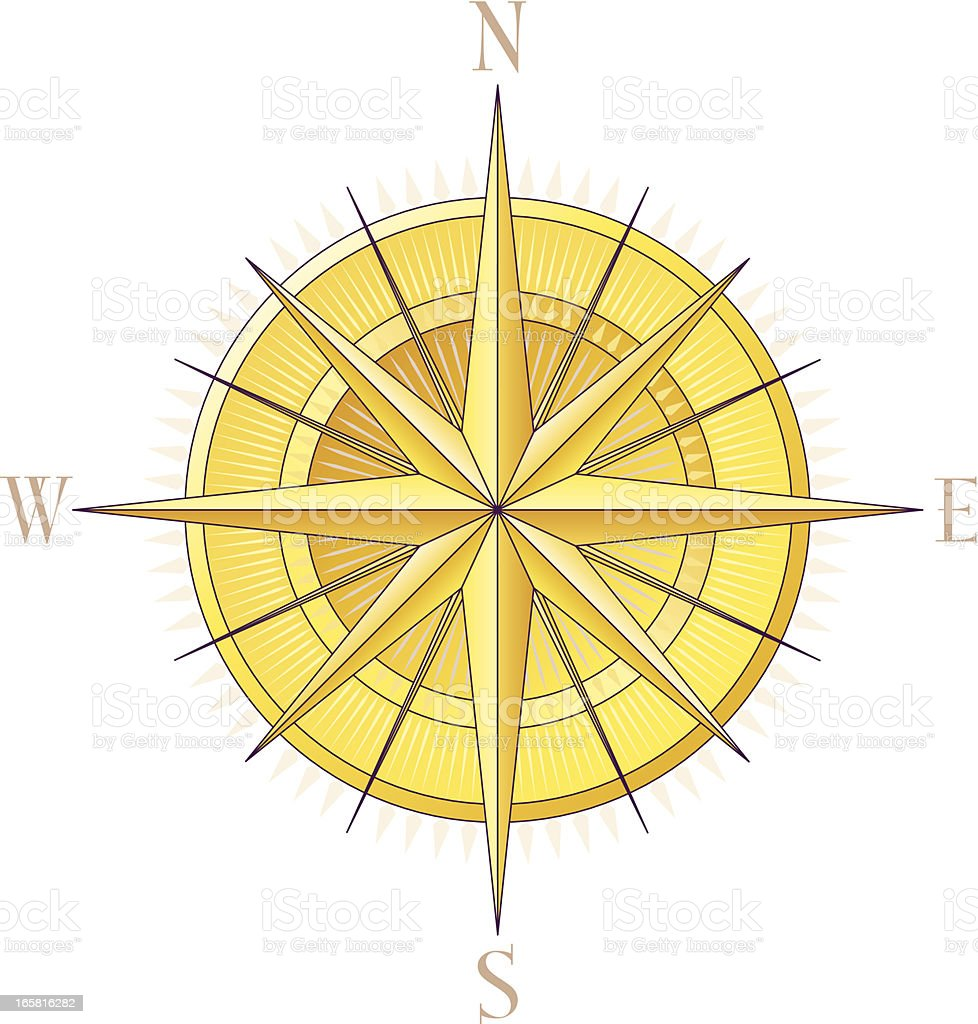 A picture of a gold compass rose vector art illustration