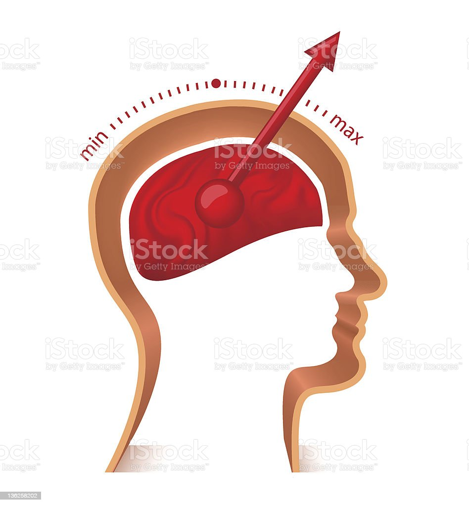 A picture of a male brain indicating brain storming royalty-free stock vector art
