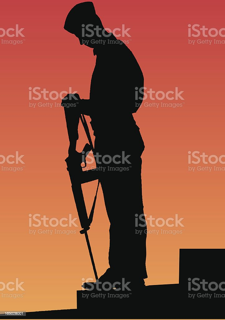 A picture of a military man holding his weapon  royalty-free stock vector art