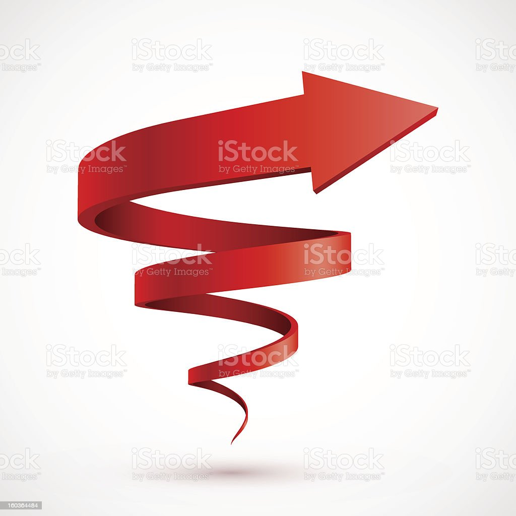 A picture of a red 3D spiral arrow on a white background vector art illustration