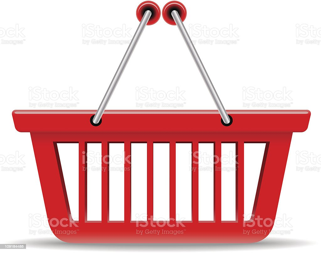 A picture of a red shopping basket vector art illustration