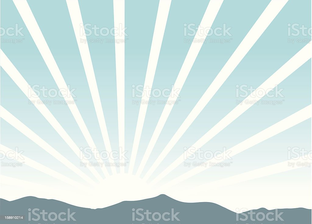 Picture of a sunrise coming over the mountains vector art illustration