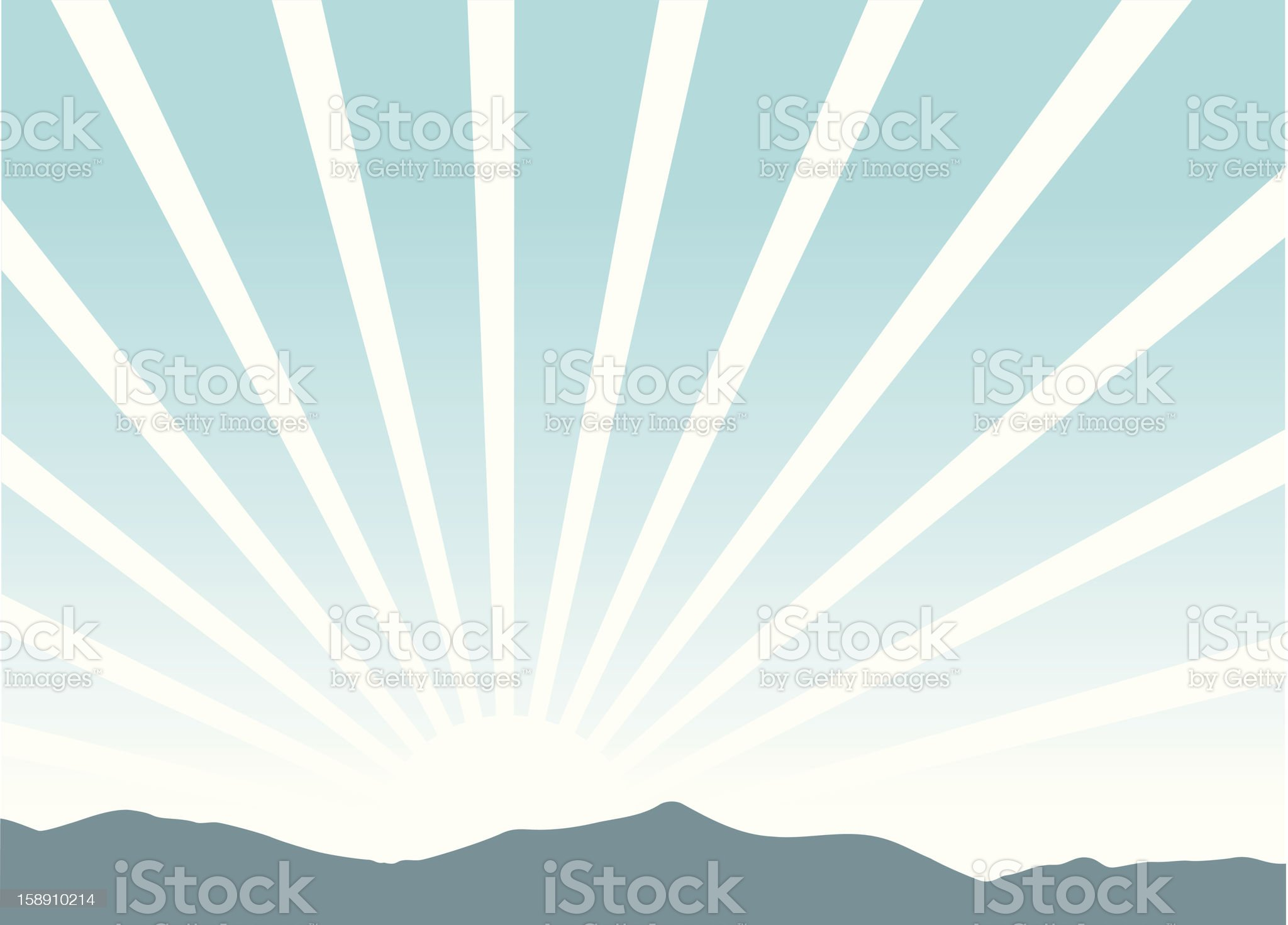 Picture of a sunrise coming over the mountains royalty-free stock vector art
