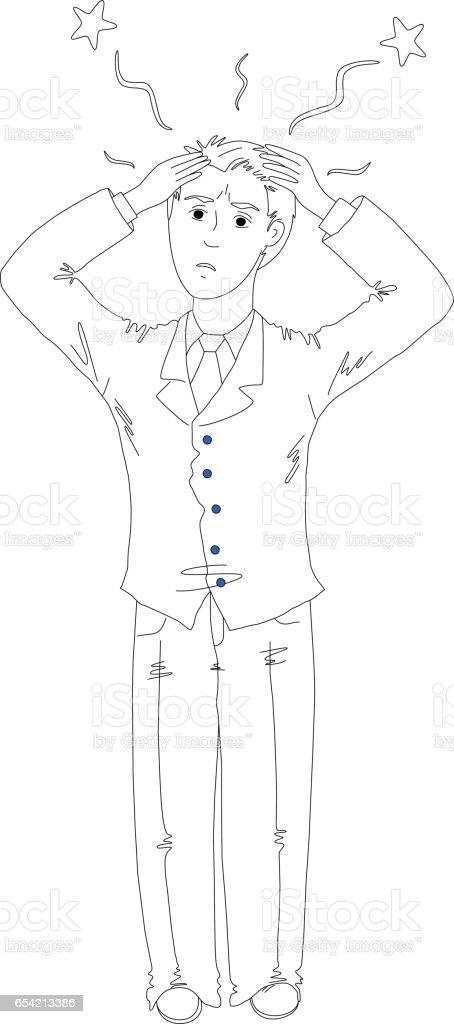 Picture of a surprised man in a classic suit vector art illustration