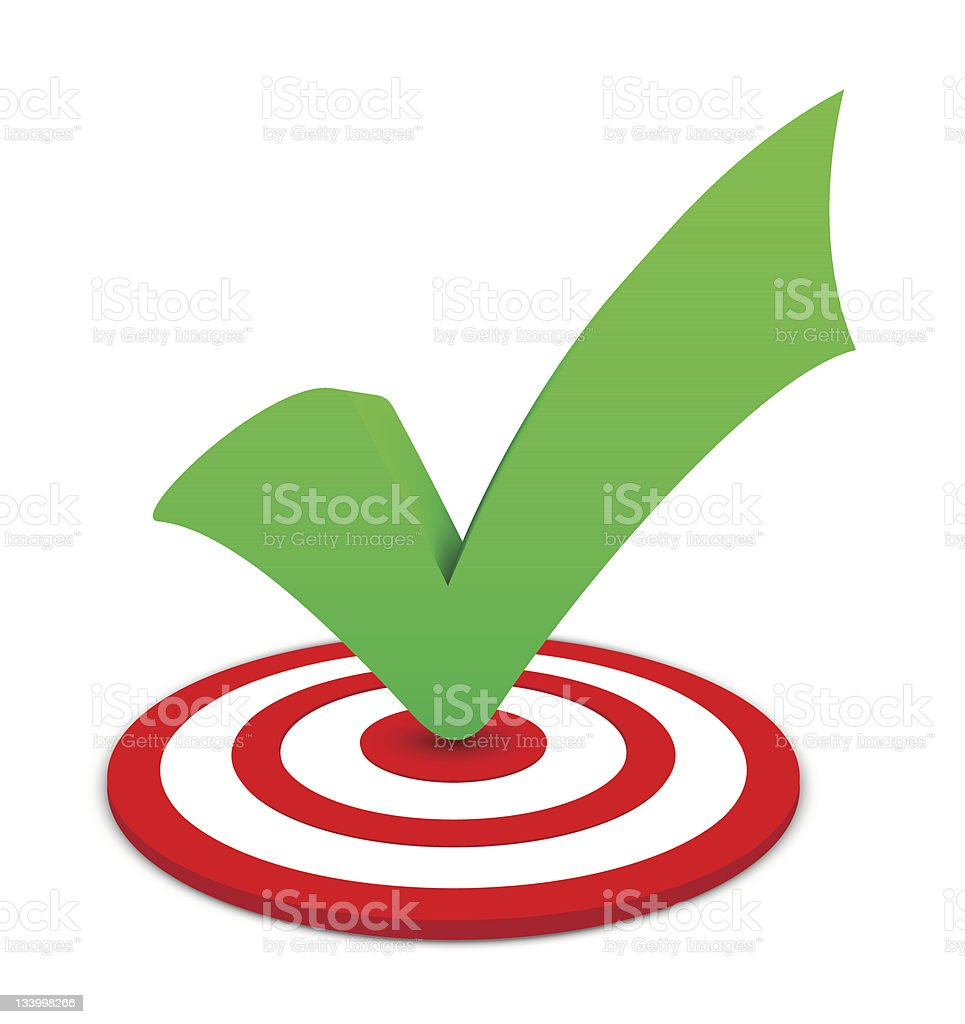 A picture of a target and a green check mark royalty-free stock vector art