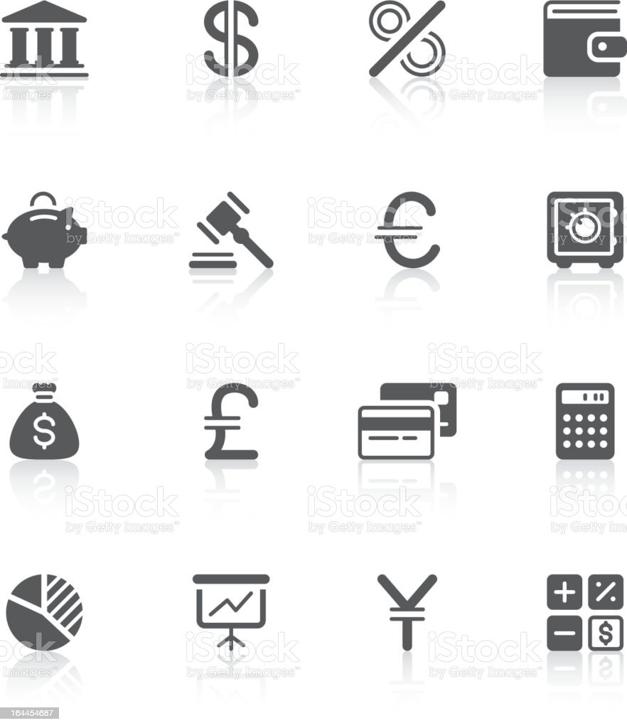 A picture of a variety of finance icons vector art illustration
