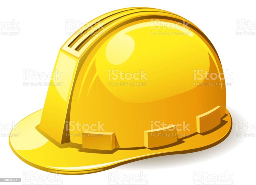 A picture of a yellow hard hat royalty-free stock vector art