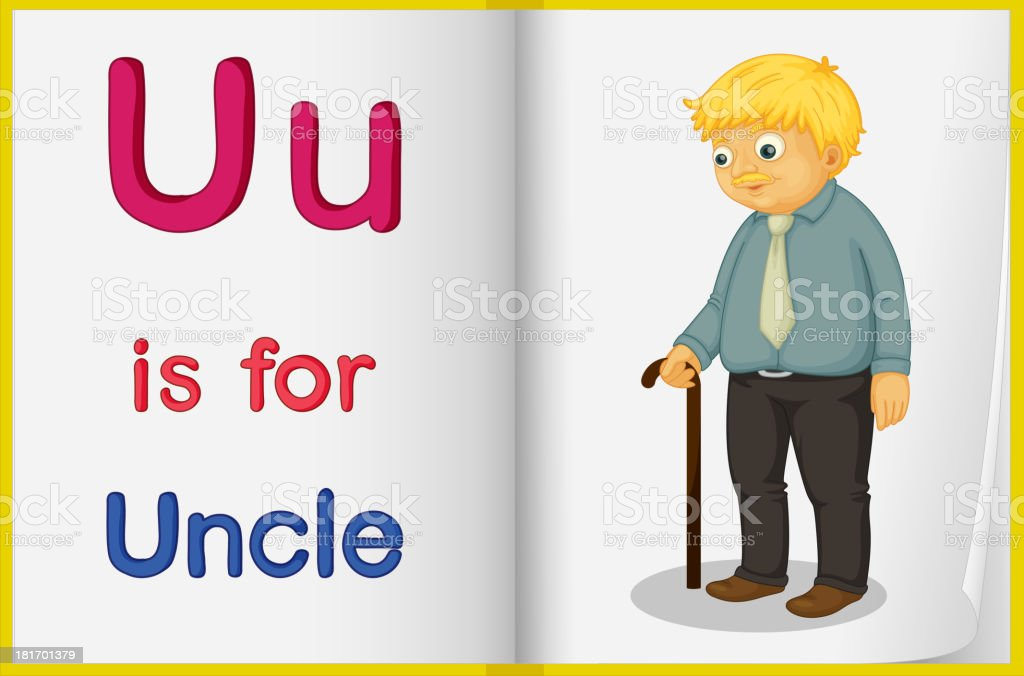 Picture of an uncle in a book royalty-free stock vector art