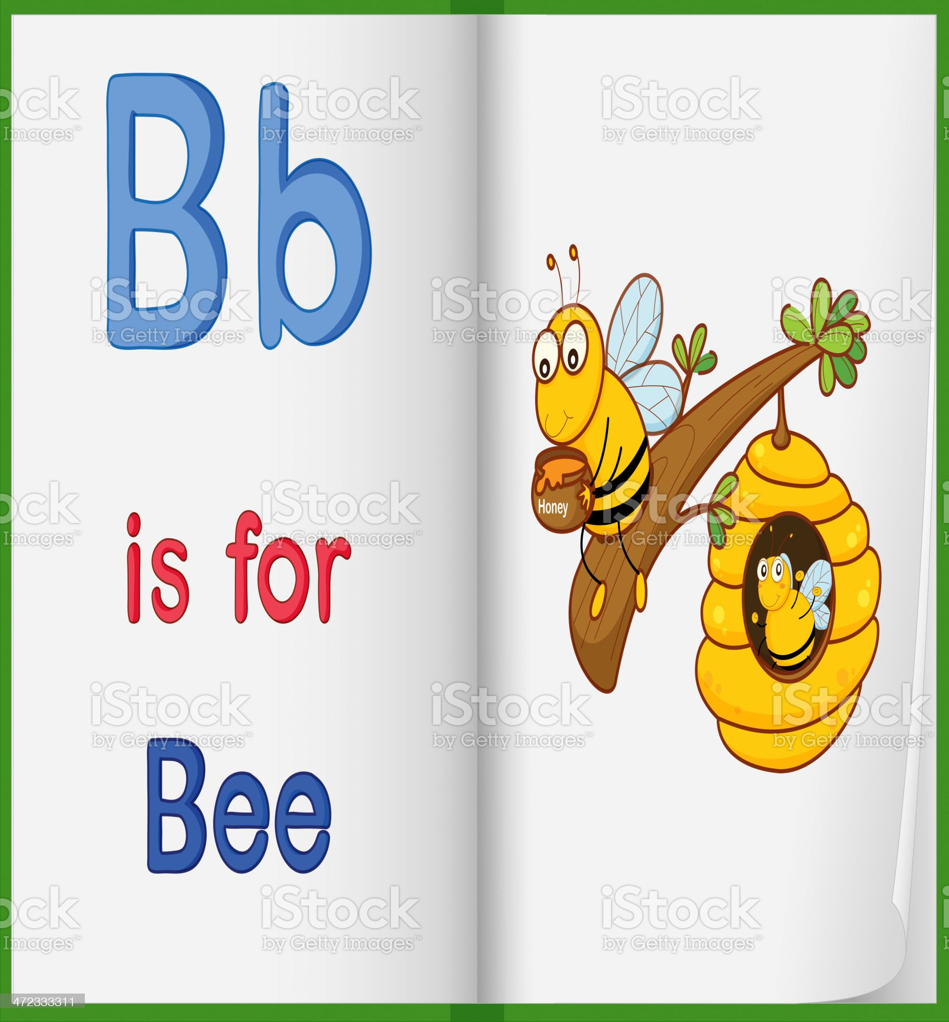 Picture of bee in a book royalty-free stock vector art