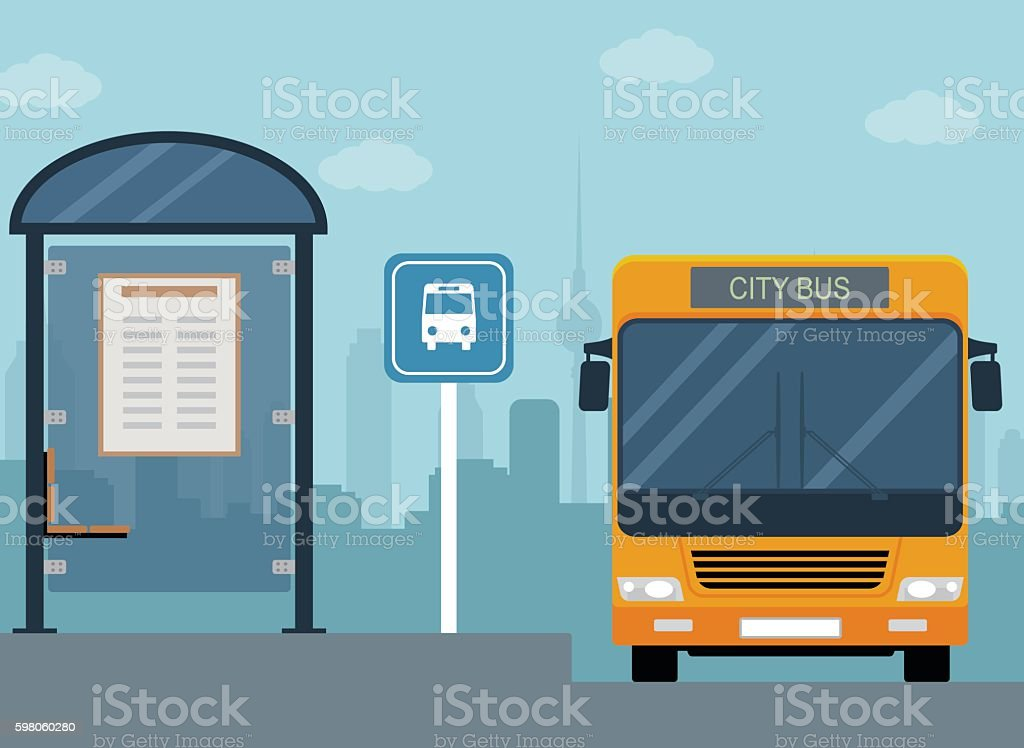 Picture of bus on the bus stop. vector art illustration