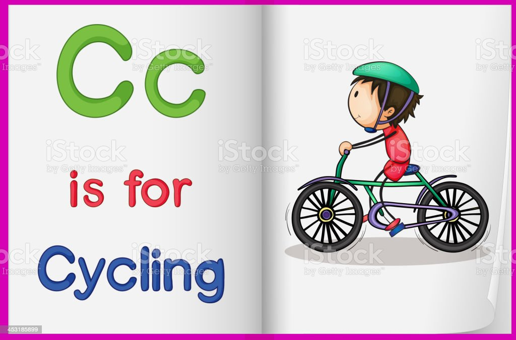 picture of cycling in a book royalty-free stock vector art