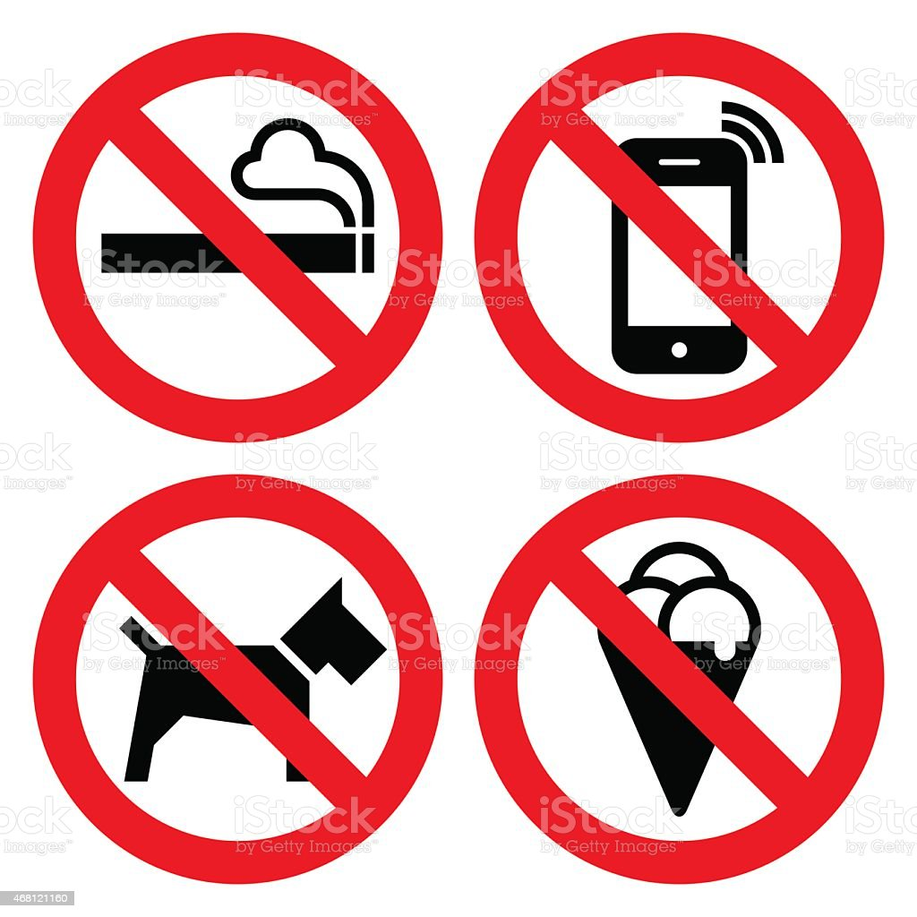 A picture of four prohibited signs vector art illustration