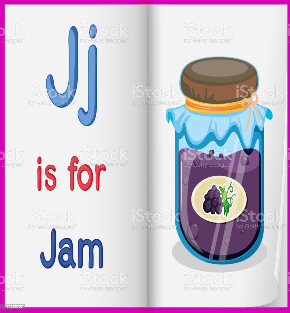 picture of jam bottle in a book royalty-free stock vector art