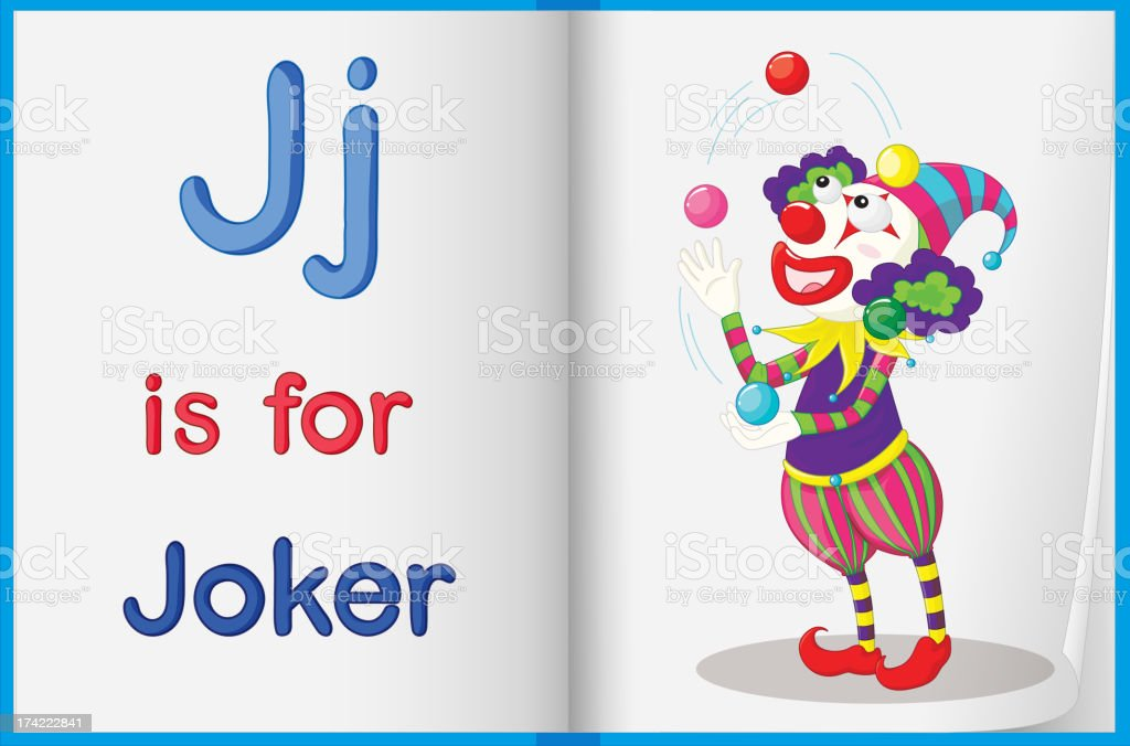 Picture of joker in book royalty-free stock vector art