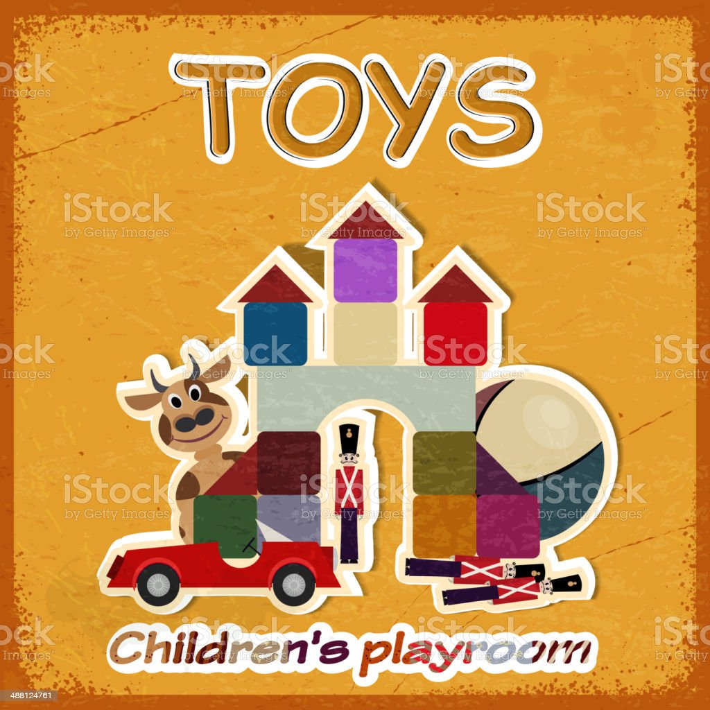 Picture of old toys, invitation in game  room for children royalty-free stock vector art
