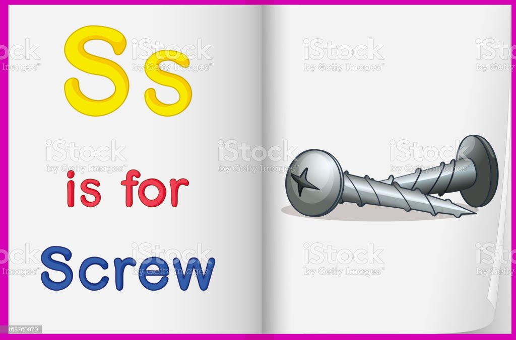 Picture of screw in a book royalty-free stock vector art