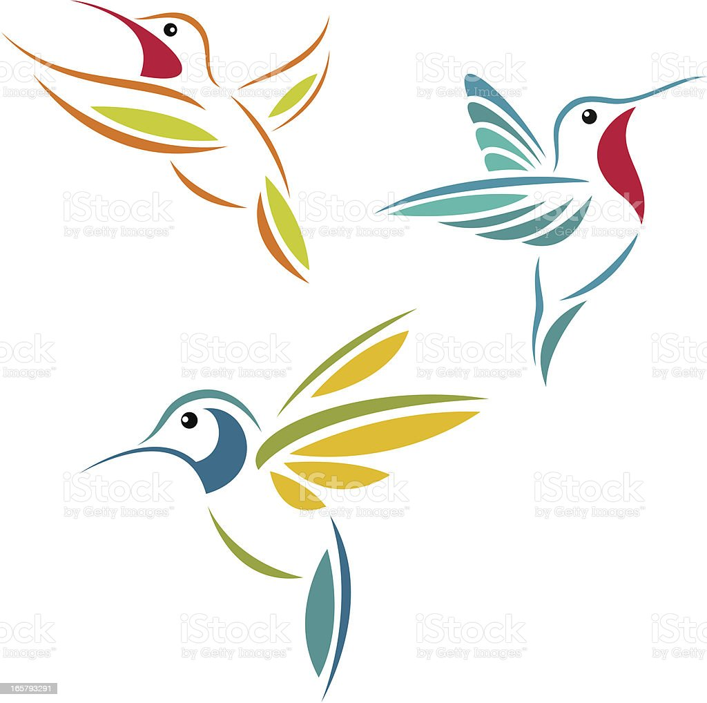 A picture of three hummingbirds flying  vector art illustration