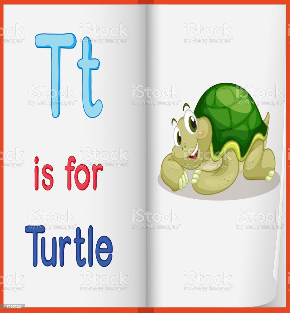 Picture of turtle in book royalty-free stock vector art