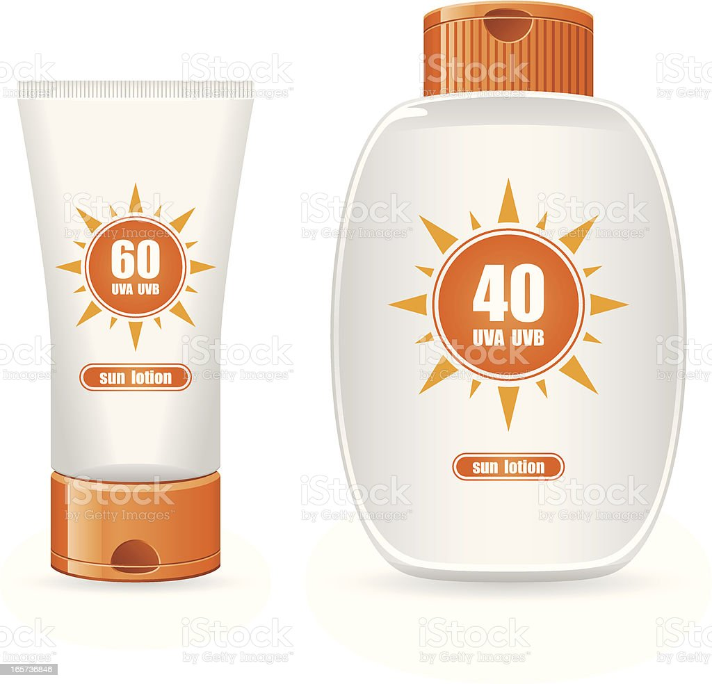 A picture of two sun lotion containers vector art illustration