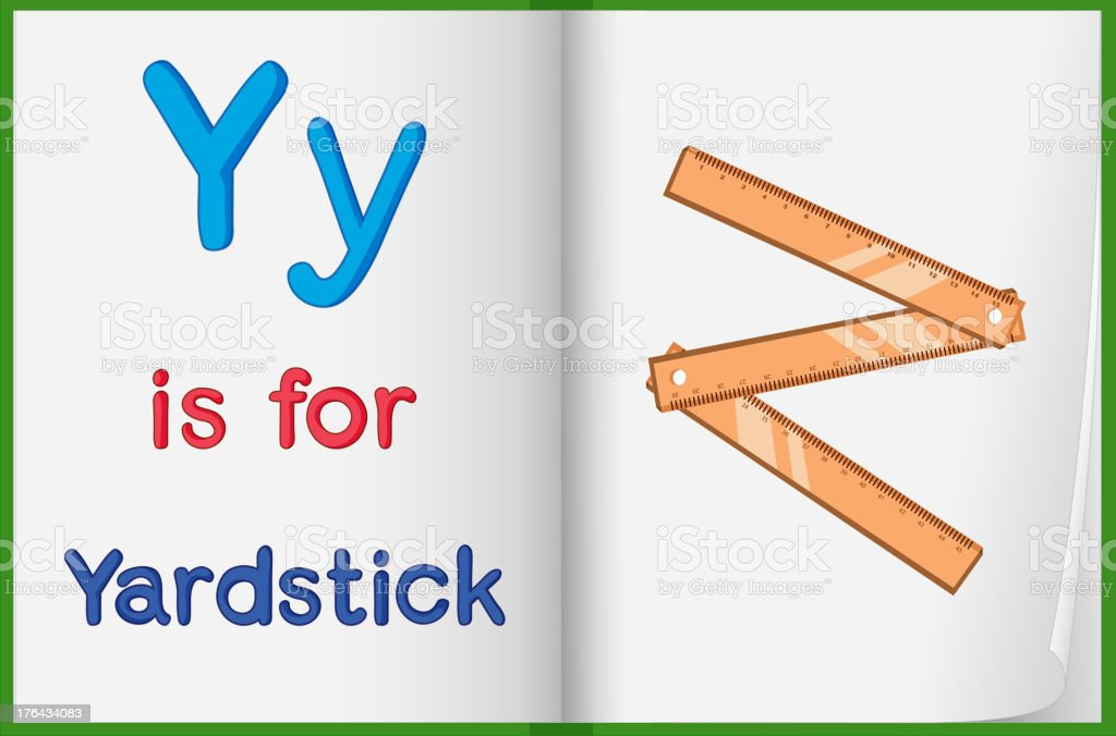 Picture of yardstick in a book royalty-free stock vector art