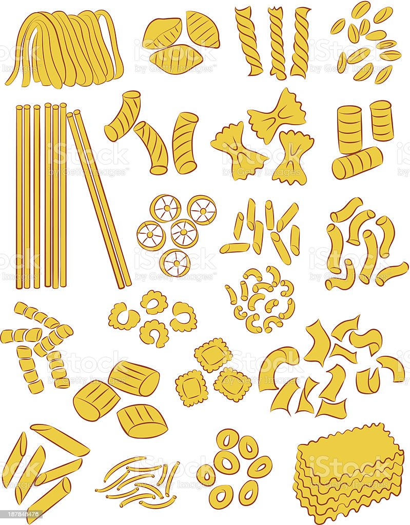 A picture of yellow uncooked pasta royalty-free stock vector art