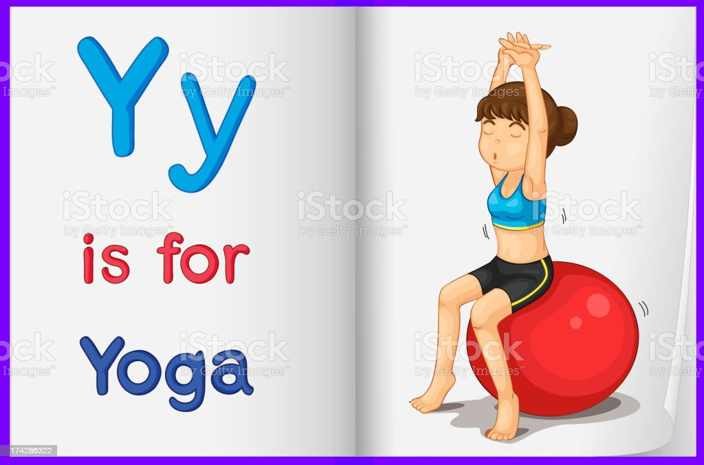Picture of yoga in a book royalty-free stock vector art