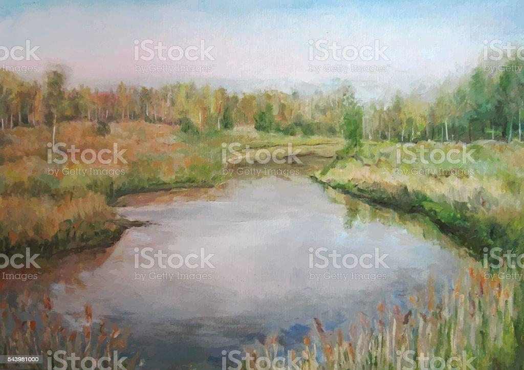 Picture oil paints on a canvas: spring landscape vector art illustration