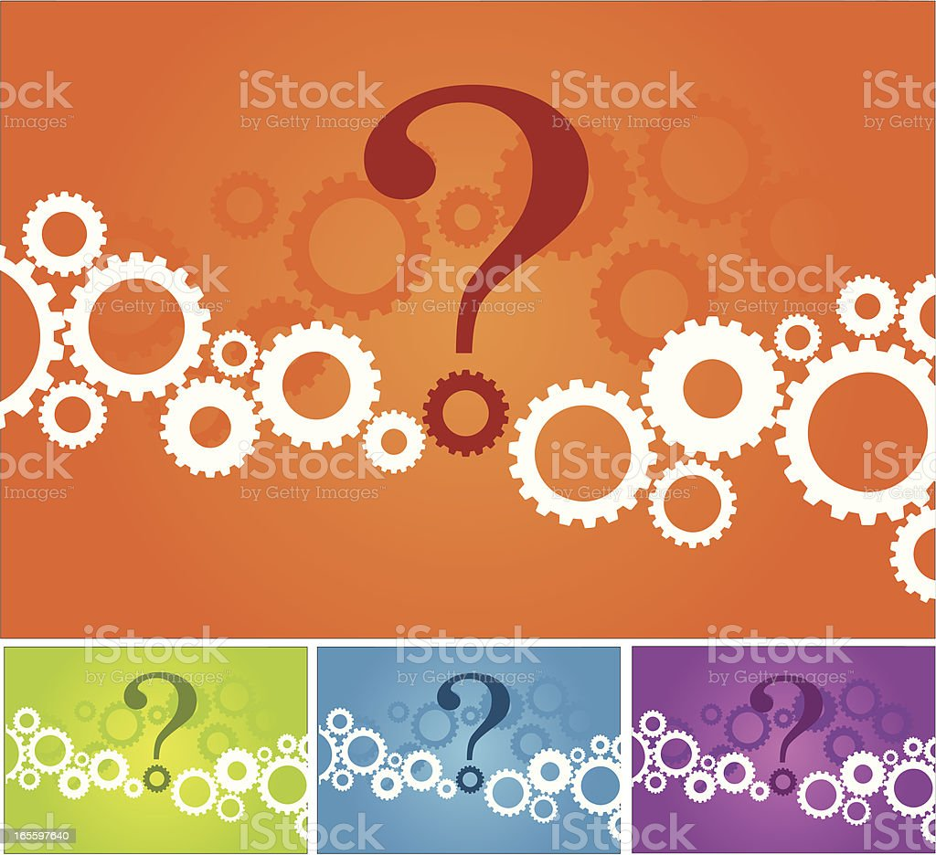 Picture with gears with a question mark in the middle royalty-free stock vector art