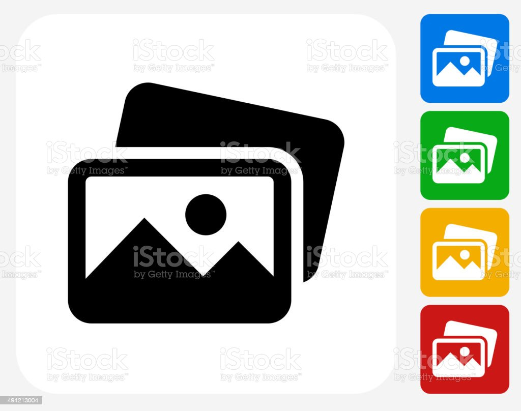Pictures Icon Flat Graphic Design vector art illustration