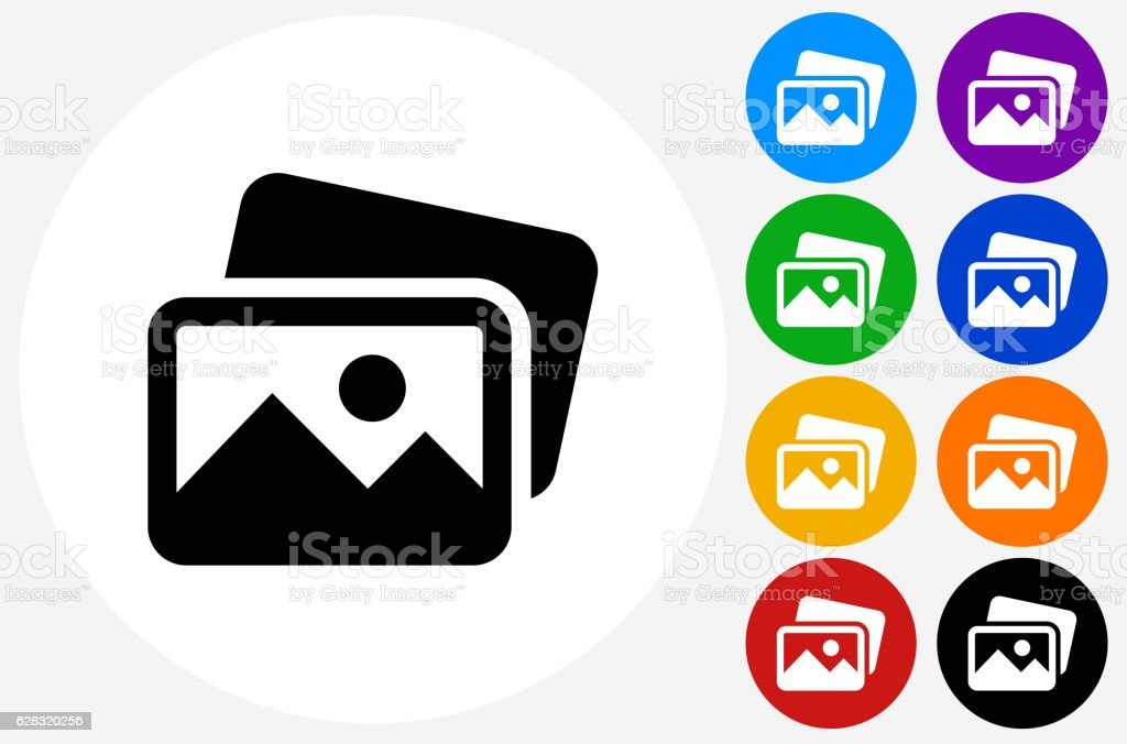 Pictures Icon on Flat Color Circle Buttons vector art illustration
